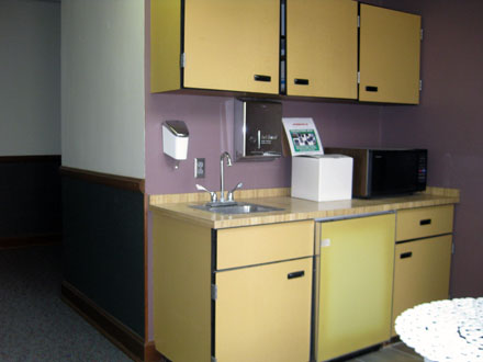 A shared kitchenette is available to commercial office tenants