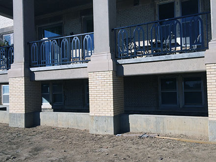 Shared Porch for Units 01 and 02 is on the ground level.